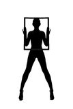 Silhouette d'une fille avec le cadre image libre de droits