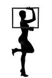 Silhouette d'une fille avec le cadre images libres de droits