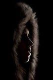 Silhouette d'une fille dans le capot Photographie stock