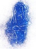 Silhouette d'une fille dans le maillot de bain du scintillement bleu sur le fond blanc Image libre de droits