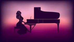 Silhouette d'une fille jouant le piano illustration libre de droits