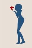 Silhouette d'une fille qui envoie un baiser d'air Photographie stock libre de droits