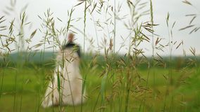 Silhouette d'une jeune mariée dans une belle danse blanche de robe et de marié sur le pré Travail d'équipe d'un couple affectueux clips vidéos