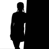 Silhouette d'une jolie fille (vecteur) Photo stock
