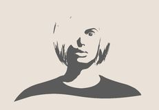 Silhouette d'une tête femelle Vue de face de visage Photographie stock
