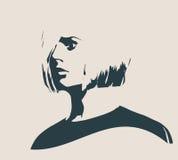 Silhouette d'une tête femelle Vue de profil de visage Photo stock