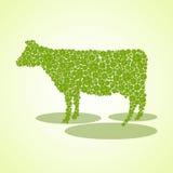 Silhouette d'une vache des feuilles du trèfle différent de tailles Photos stock