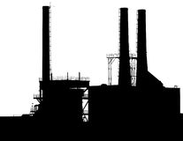 Silhouette d'usine Photo libre de droits