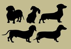 Silhouette of dachshund stock illustration