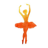Silhouette of a dancer. ballet. . watercolor stock illustration