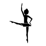 Silhouette dancer fourth position developed Royalty Free Stock Photo