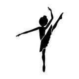 Silhouette dancer high leg pose shoulder to Royalty Free Stock Photos