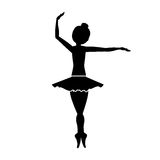 Silhouette with dancer pirouette fourth position Stock Images