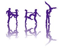 The silhouette of dancers Royalty Free Stock Images