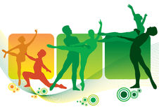Silhouette dancers (vector). Silhouette dancers with abstract background. (man and woman are separated Royalty Free Stock Photos