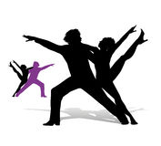Silhouette of a dancers Stock Photography
