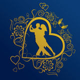 Silhouette of Dancing Couple. Gold Silhouette of Dancing Couple Stock Illustration