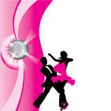 Silhouette of dancing couple. Dance couple in the rays of spotlights Royalty Free Stock Image