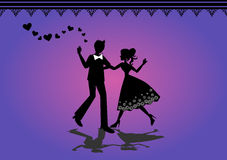 Silhouette of dancing couple Royalty Free Stock Photos