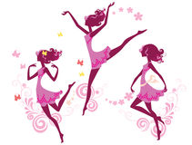 Silhouette of dancing girl. Vector illustration of a silhouette of young girl at pink colour Stock Images
