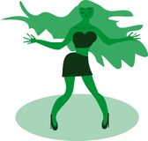 Silhouette of the dancing girl Royalty Free Stock Image