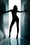 Silhouette of  dancing girl Royalty Free Stock Photos