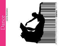 Silhouette of a dancing girl and barcode. Dancer woman. Royalty Free Stock Image