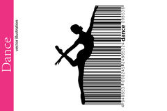 Silhouette of a dancing girl and barcode. Dancer woman. Royalty Free Stock Images