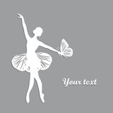 Silhouette of dancing girl with butterfliy. Stock Photo