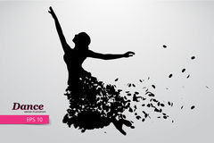 Silhouette of a dancing girl. Dancer woman. Royalty Free Stock Image