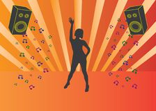 Silhouette of dancing girl at disco Stock Photography