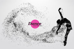 Silhouette of a dancing girl from particle. Dancer woman. Silhouette of a dancing girl of particle. Background and text on a separate layer, color can be Stock Photos