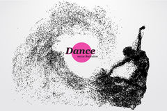 Silhouette of a dancing girl from particle. Dancer woman. Royalty Free Stock Image
