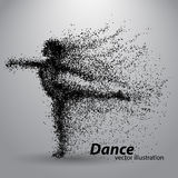 Silhouette of a dancing girl from particles. Background and text on a separate layer, color can be changed in one click Royalty Free Stock Images
