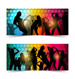 Silhouette dancing girl Stock Images