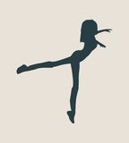 Silhouette of a dancing girl Royalty Free Stock Images