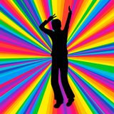 Silhouette dancing human, music battle party, disco ray Royalty Free Stock Photography