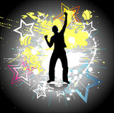 Silhouette of a dancing man. Vector Royalty Free Stock Image