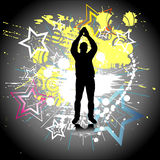 Silhouette of a dancing man. Vector Stock Photo