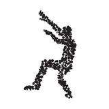 The silhouette of the dancing man created from multi-colored spo. Ts. Vector illustration. eps10 Stock Image