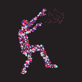 The silhouette of the dancing man created from multi-colored. Spots. Vector illustration. eps10 Stock Images