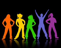 Silhouette of dancing people Royalty Free Stock Photo