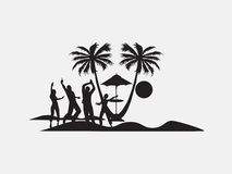 Silhouette dancing people under the Palm tree Stock Photo