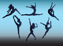 Silhouette dancing. Vector image silhouettes dancers girls Royalty Free Stock Photo