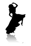 Silhouette of dancing woman. Black isolated silhouette of dancing woman vector illustration