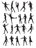 Silhouette of a Dancing Woman  Royalty Free Stock Photos