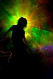 Silhouette dans la fumée de couleur Photo libre de droits