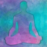 Silhouette dans la pose de yoga au-dessus du fond d'aquarelle photo stock