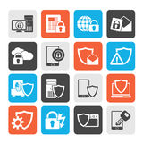 Silhouette Data and Information Protection Security Icons Royalty Free Stock Photo