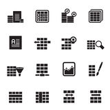 Silhouette Database and Table Formatting Icons. Vector Icon Set Royalty Free Stock Image
